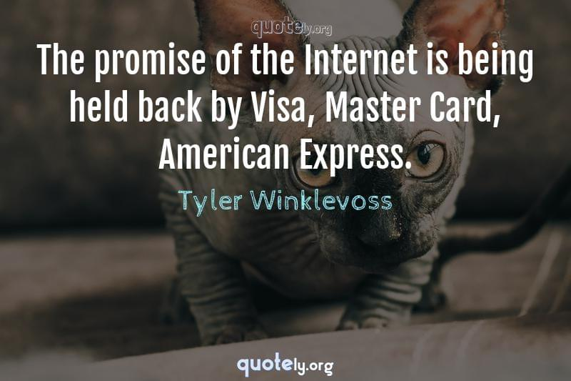 The promise of the Internet is being held back by Visa, Master Card, American Express. by Tyler Winklevoss
