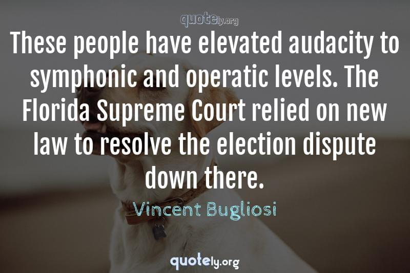 These people have elevated audacity to symphonic and operatic levels. The Florida Supreme Court relied on new law to resolve the election dispute down there. by Vincent Bugliosi