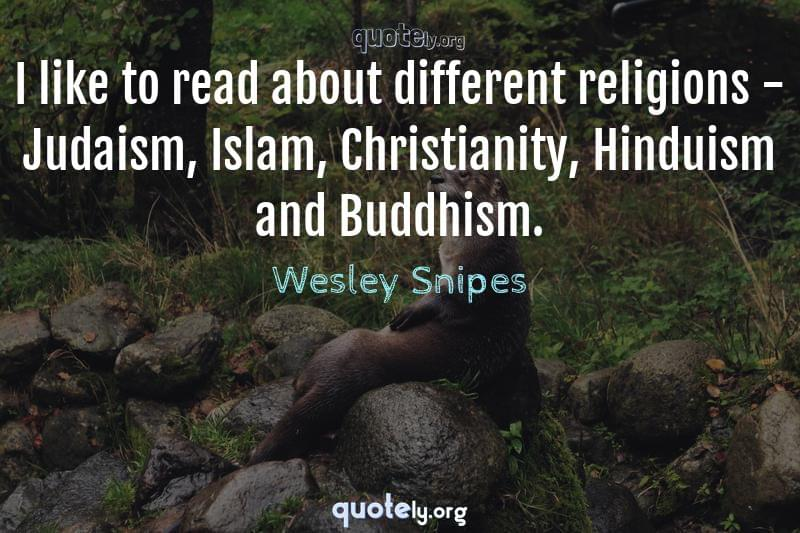 I like to read about different religions - Judaism, Islam, Christianity, Hinduism and Buddhism. by Wesley Snipes