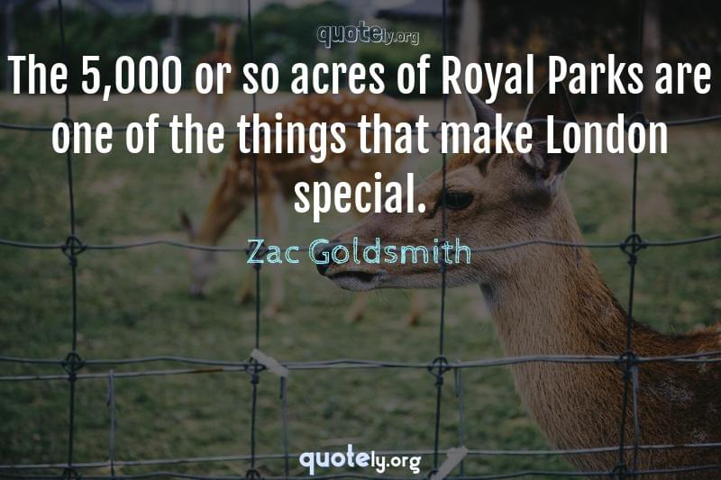The 5,000 or so acres of Royal Parks are one of the things that make London special. by Zac Goldsmith