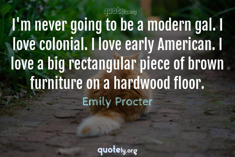 I'm never going to be a modern gal. I love colonial. I love early American. I love a big rectangular piece of brown furniture on a hardwood floor. by Emily Procter