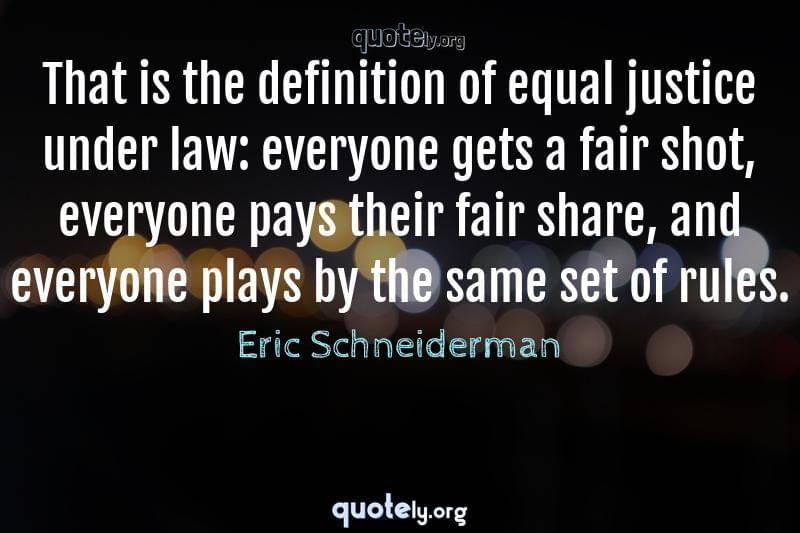 That is the definition of equal justice under law: everyone gets a fair shot, everyone pays their fair share, and everyone plays by the same set of rules. by Eric Schneiderman