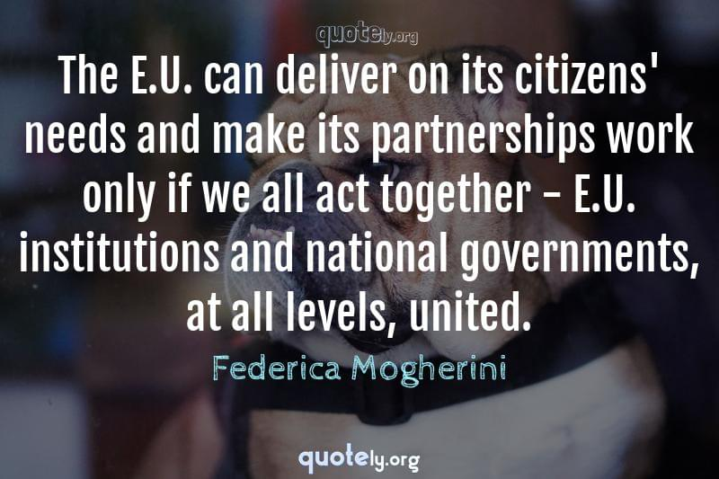 The E.U. can deliver on its citizens' needs and make its partnerships work only if we all act together - E.U. institutions and national governments, at all levels, united. by Federica Mogherini