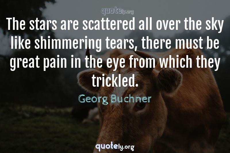 The stars are scattered all over the sky like shimmering tears, there must be great pain in the eye from which they trickled. by Georg Buchner