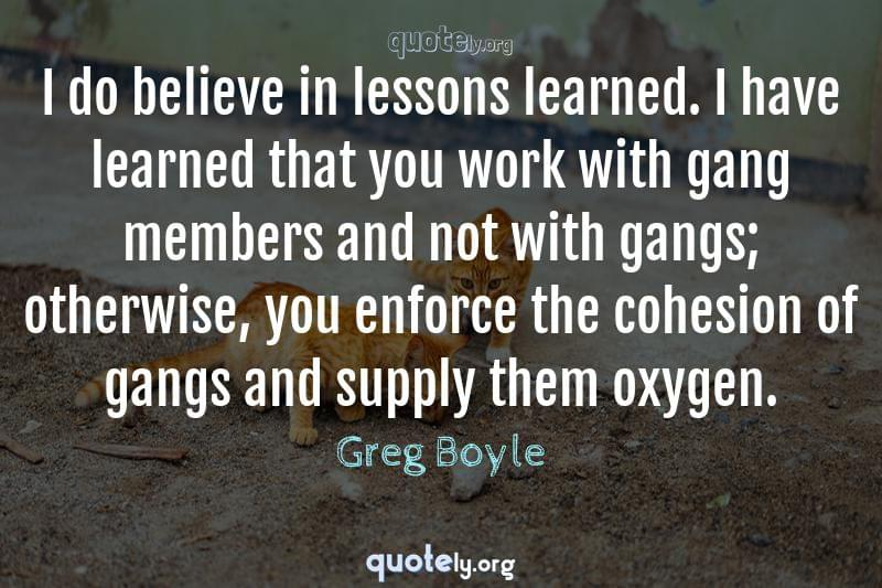 I do believe in lessons learned. I have learned that you work with gang members and not with gangs; otherwise, you enforce the cohesion of gangs and supply them oxygen. by Greg Boyle