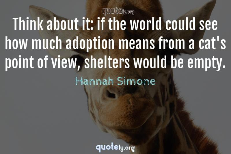 Think about it: if the world could see how much adoption means from a cat's point of view, shelters would be empty. by Hannah Simone