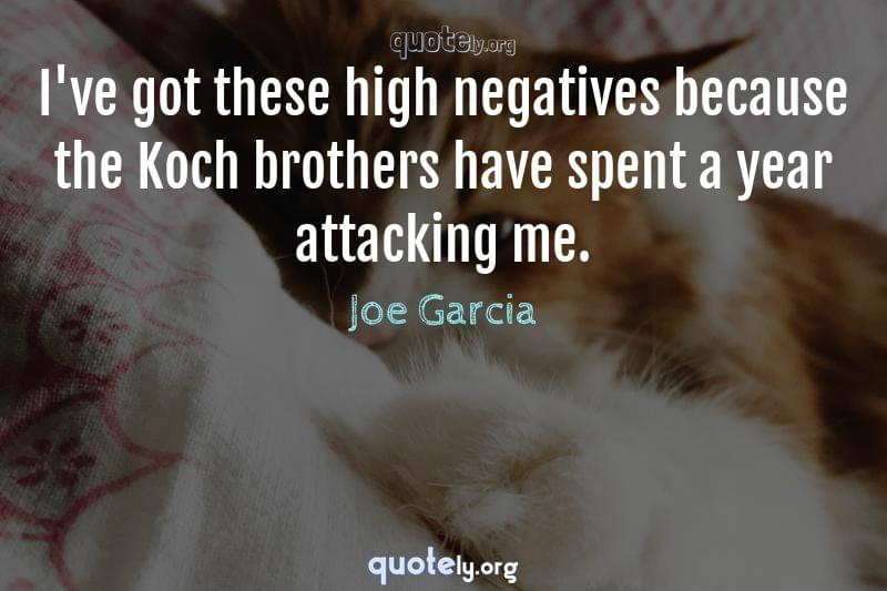 I've got these high negatives because the Koch brothers have spent a year attacking me. by Joe Garcia