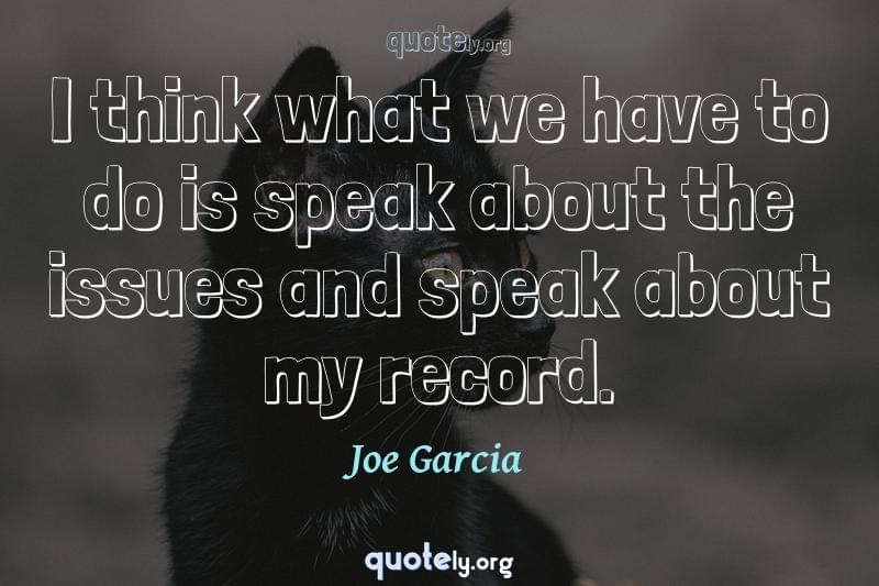I think what we have to do is speak about the issues and speak about my record. by Joe Garcia