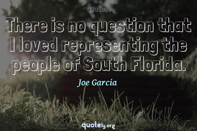 There is no question that I loved representing the people of South Florida. by Joe Garcia