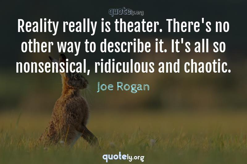 Reality really is theater. There's no other way to describe it. It's all so nonsensical, ridiculous and chaotic. by Joe Rogan