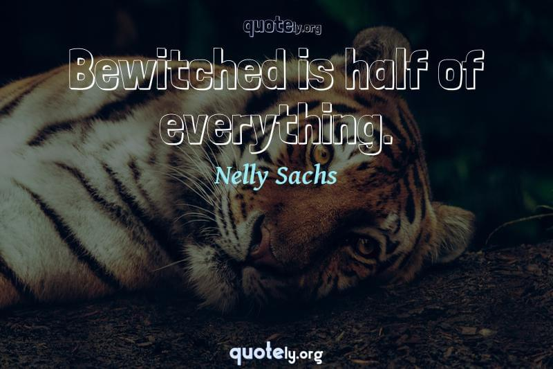 Bewitched is half of everything. by Nelly Sachs