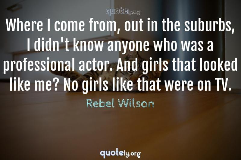 Where I come from, out in the suburbs, I didn't know anyone who was a professional actor. And girls that looked like me? No girls like that were on TV. by Rebel Wilson