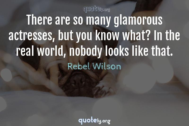 There are so many glamorous actresses, but you know what? In the real world, nobody looks like that. by Rebel Wilson