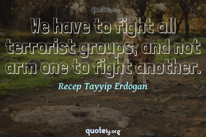 We have to fight all terrorist groups, and not arm one to fight another. by Recep Tayyip Erdogan