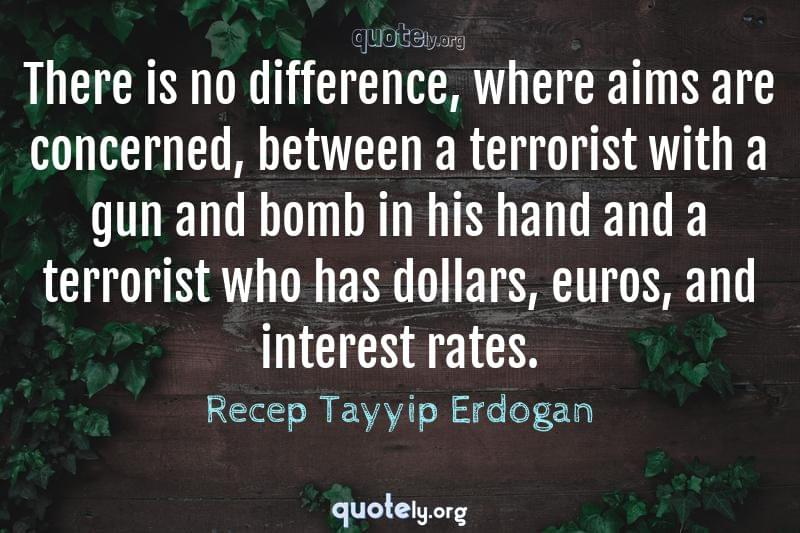 There is no difference, where aims are concerned, between a terrorist with a gun and bomb in his hand and a terrorist who has dollars, euros, and interest rates. by Recep Tayyip Erdogan