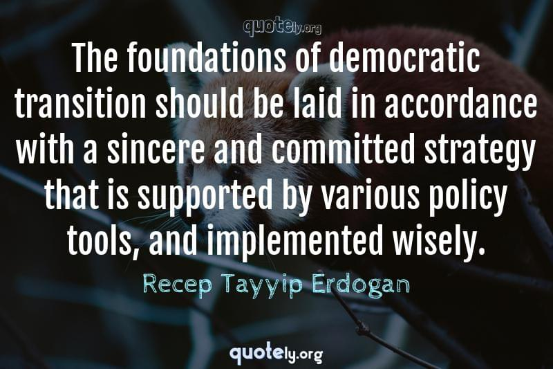 The foundations of democratic transition should be laid in accordance with a sincere and committed strategy that is supported by various policy tools, and implemented wisely. by Recep Tayyip Erdogan