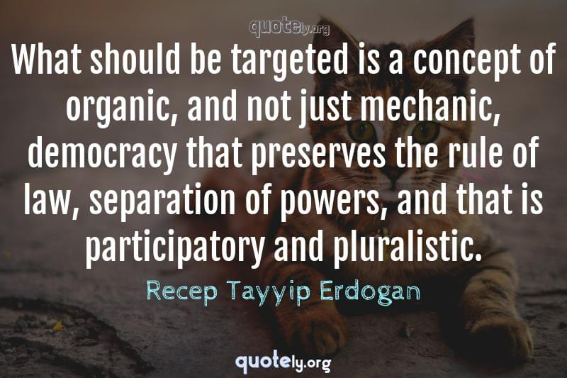 What should be targeted is a concept of organic, and not just mechanic, democracy that preserves the rule of law, separation of powers, and that is participatory and pluralistic. by Recep Tayyip Erdogan