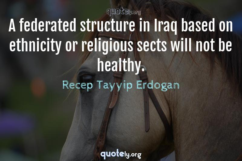 A federated structure in Iraq based on ethnicity or religious sects will not be healthy. by Recep Tayyip Erdogan