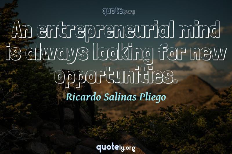 An entrepreneurial mind is always looking for new opportunities. by Ricardo Salinas Pliego
