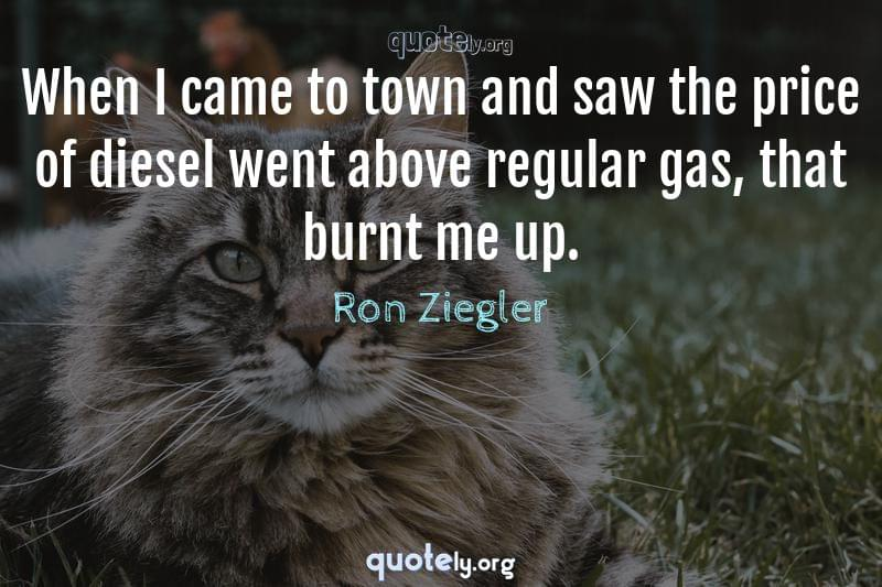 When I came to town and saw the price of diesel went above regular gas, that burnt me up. by Ron Ziegler
