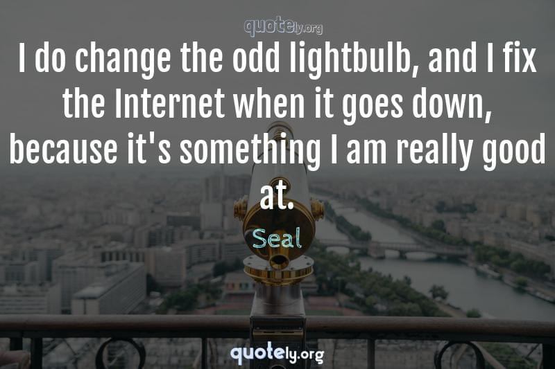 I do change the odd lightbulb, and I fix the Internet when it goes down, because it's something I am really good at. by Seal