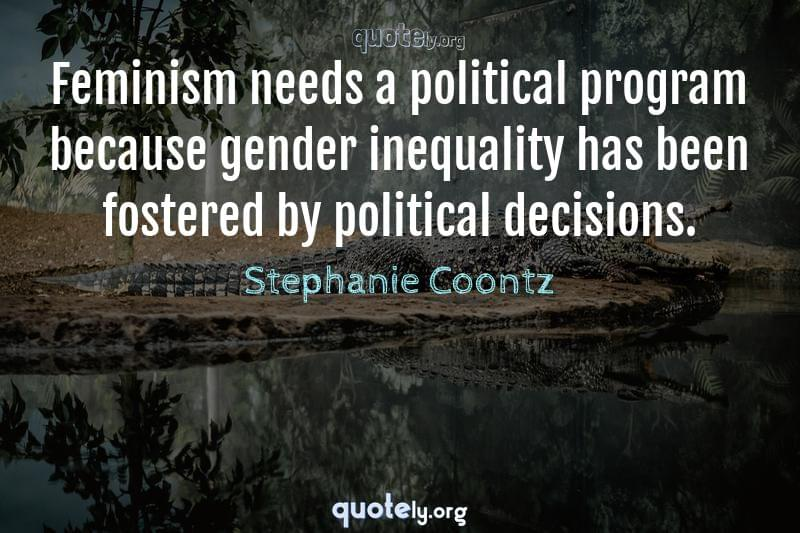 Feminism needs a political program because gender inequality has been fostered by political decisions. by Stephanie Coontz