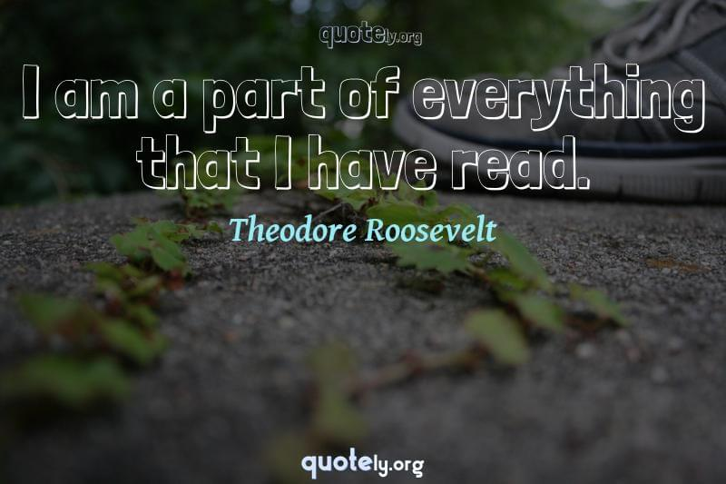 I am a part of everything that I have read. by Theodore Roosevelt