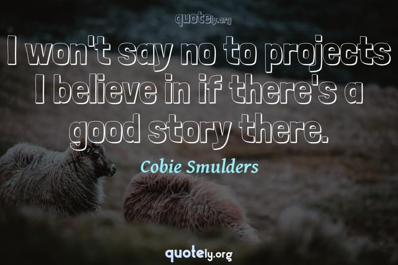 I won't say no to projects I believe in if there's a good story there. by Cobie Smulders