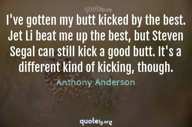 I've gotten my butt kicked by the best. Jet Li beat me up the best, but Steven Segal can still kick a good butt. It's a different kind of kicking, though. by Anthony Anderson