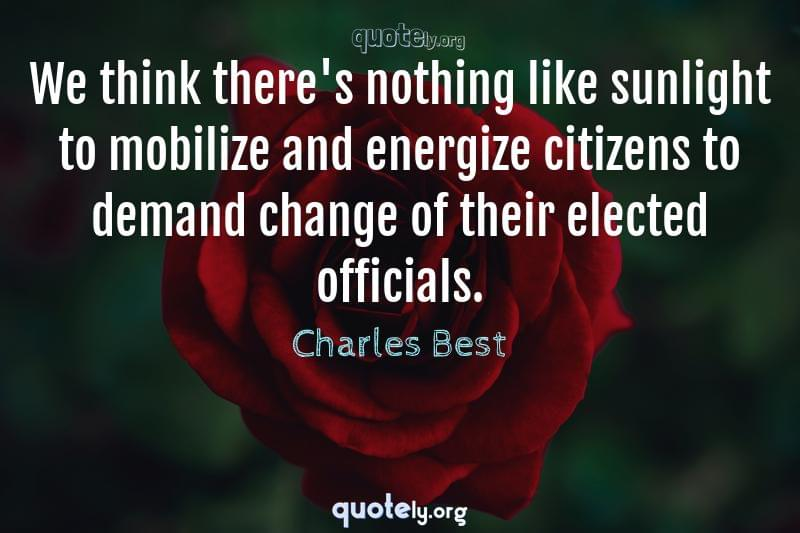 We think there's nothing like sunlight to mobilize and energize citizens to demand change of their elected officials. by Charles Best