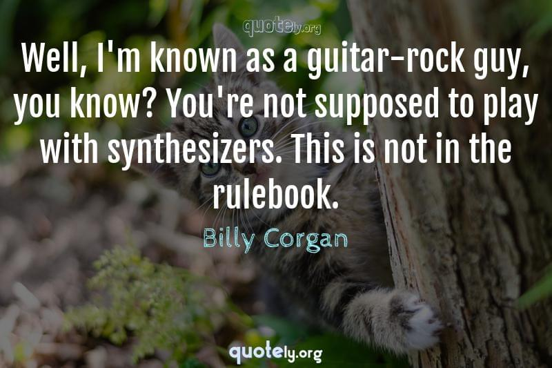 Well, I'm known as a guitar-rock guy, you know? You're not supposed to play with synthesizers. This is not in the rulebook. by Billy Corgan
