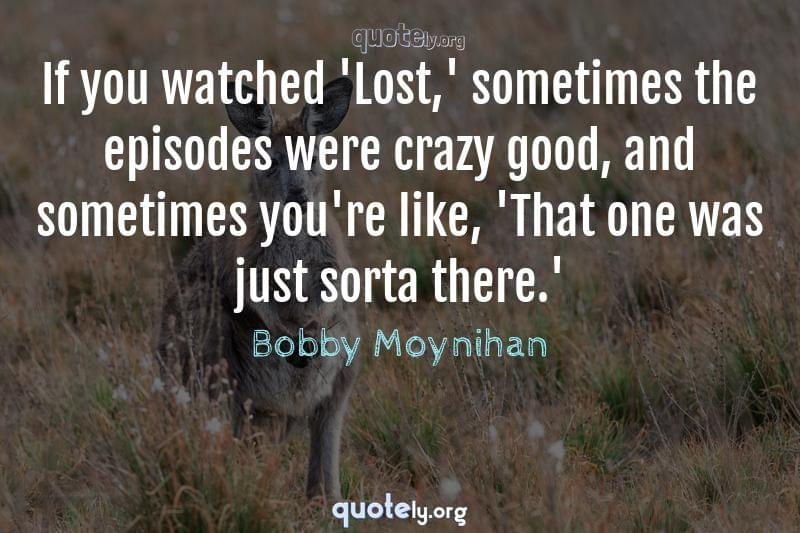 If you watched 'Lost,' sometimes the episodes were crazy good, and sometimes you're like, 'That one was just sorta there.' by Bobby Moynihan
