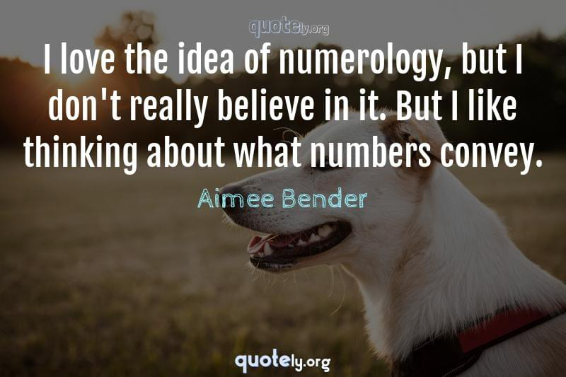 I love the idea of numerology, but I don't really believe in it. But I like thinking about what numbers convey. by Aimee Bender
