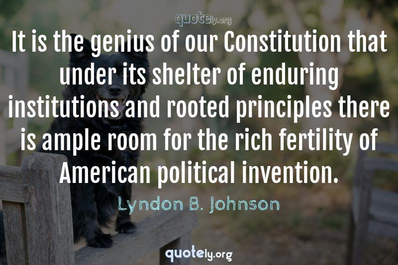 It is the genius of our Constitution that under its shelter of enduring institutions and rooted principles there is ample room for the rich fertility of American political invention. by Lyndon B. Johnson