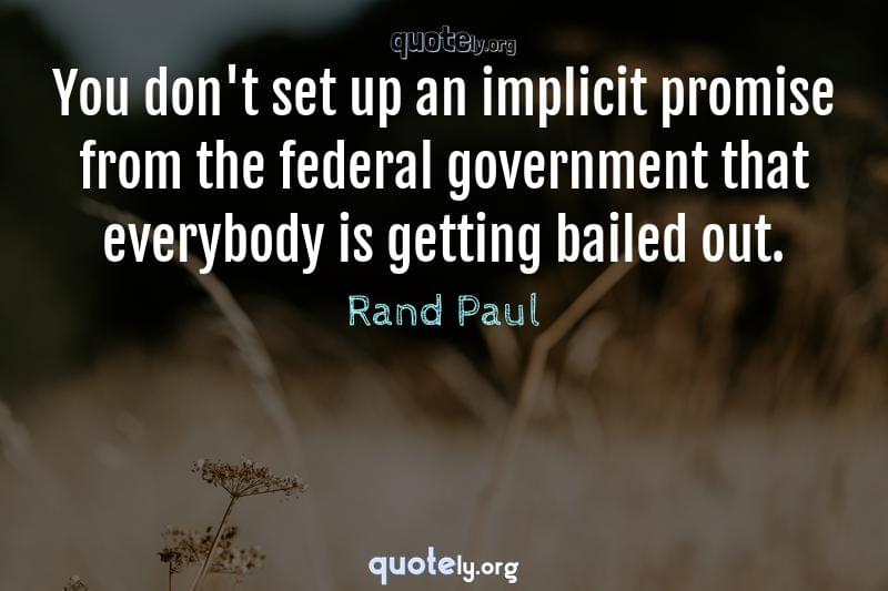 You don't set up an implicit promise from the federal government that everybody is getting bailed out. by Rand Paul