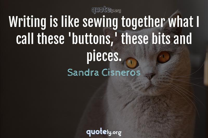 Writing is like sewing together what I call these 'buttons,' these bits and pieces. by Sandra Cisneros