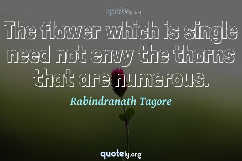 The flower which is single need not envy the thorns that are numerous. by Rabindranath Tagore