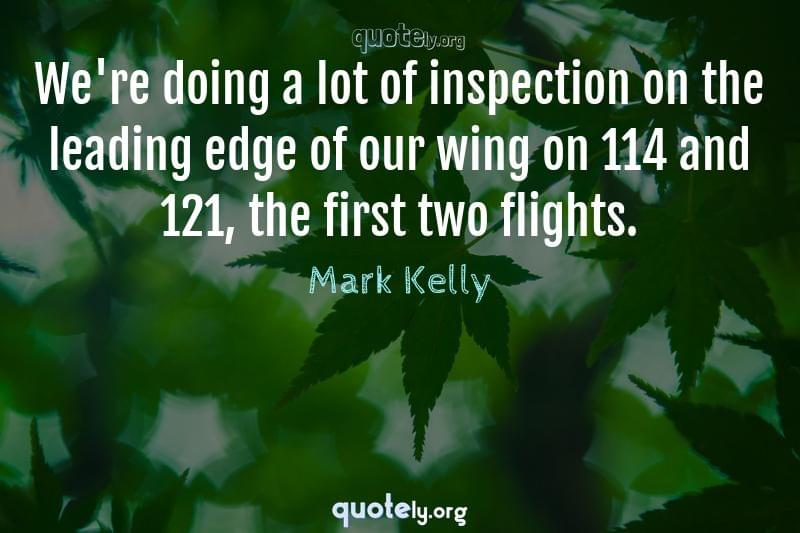We're doing a lot of inspection on the leading edge of our wing on 114 and 121, the first two flights. by Mark Kelly