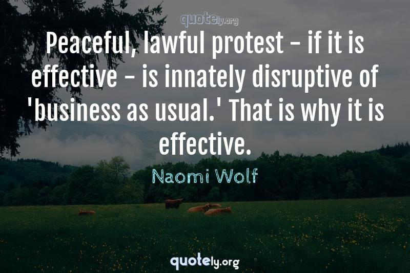 Peaceful, lawful protest - if it is effective - is innately disruptive of 'business as usual.' That is why it is effective. by Naomi Wolf