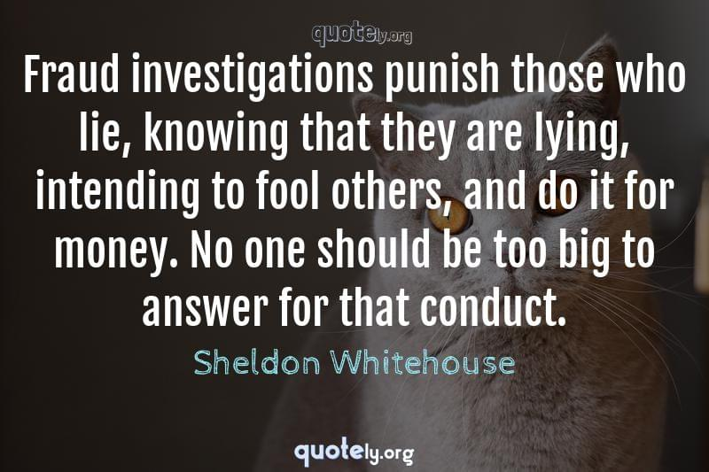 Fraud investigations punish those who lie, knowing that they are lying, intending to fool others, and do it for money. No one should be too big to answer for that conduct. by Sheldon Whitehouse