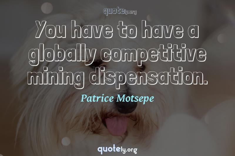 You have to have a globally competitive mining dispensation. by Patrice Motsepe