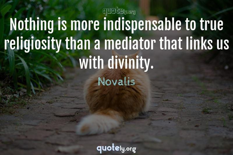 Nothing is more indispensable to true religiosity than a mediator that links us with divinity. by Novalis