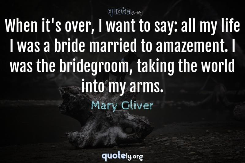 When it's over, I want to say: all my life I was a bride married to amazement. I was the bridegroom, taking the world into my arms. by Mary Oliver