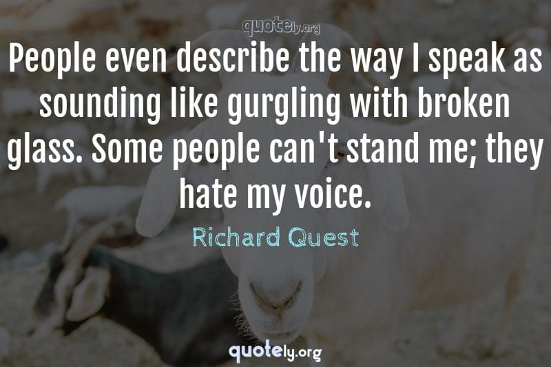People even describe the way I speak as sounding like gurgling with broken glass. Some people can't stand me; they hate my voice. by Richard Quest