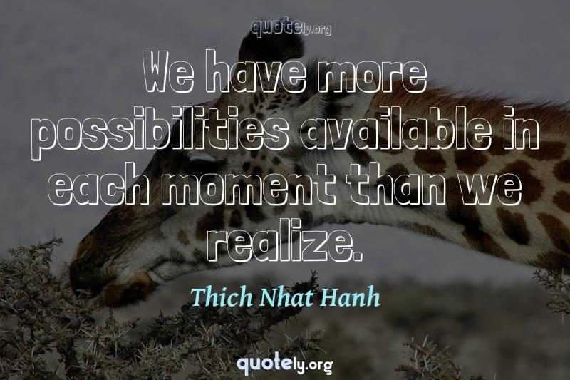 We have more possibilities available in each moment than we realize. by Thich Nhat Hanh