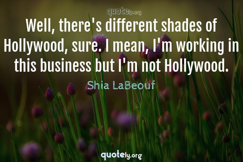 Well, there's different shades of Hollywood, sure. I mean, I'm working in this business but I'm not Hollywood. by Shia LaBeouf