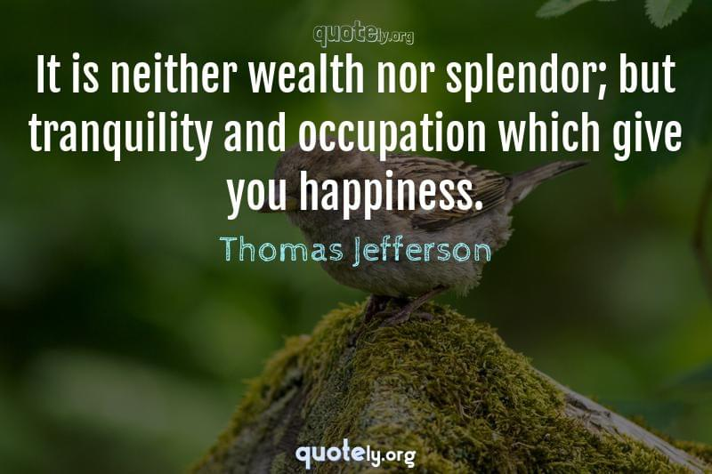 It is neither wealth nor splendor; but tranquility and occupation which give you happiness. by Thomas Jefferson