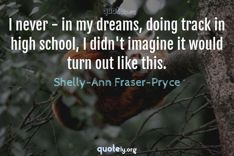 I never - in my dreams, doing track in high school, I didn't imagine it would turn out like this. by Shelly-Ann Fraser-Pryce