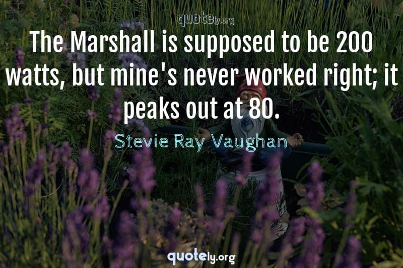 The Marshall is supposed to be 200 watts, but mine's never worked right; it peaks out at 80. by Stevie Ray Vaughan