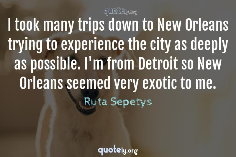 I took many trips down to New Orleans trying to experience the city as deeply as possible. I'm from Detroit so New Orleans seemed very exotic to me. by Ruta Sepetys